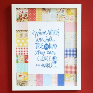 Patchwork mat framed wall decor