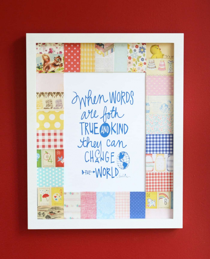 Use old book pages and your Mod Podge to patchwork a picture frame mat. This makes such a pretty, unique piece of wall decor for any room!