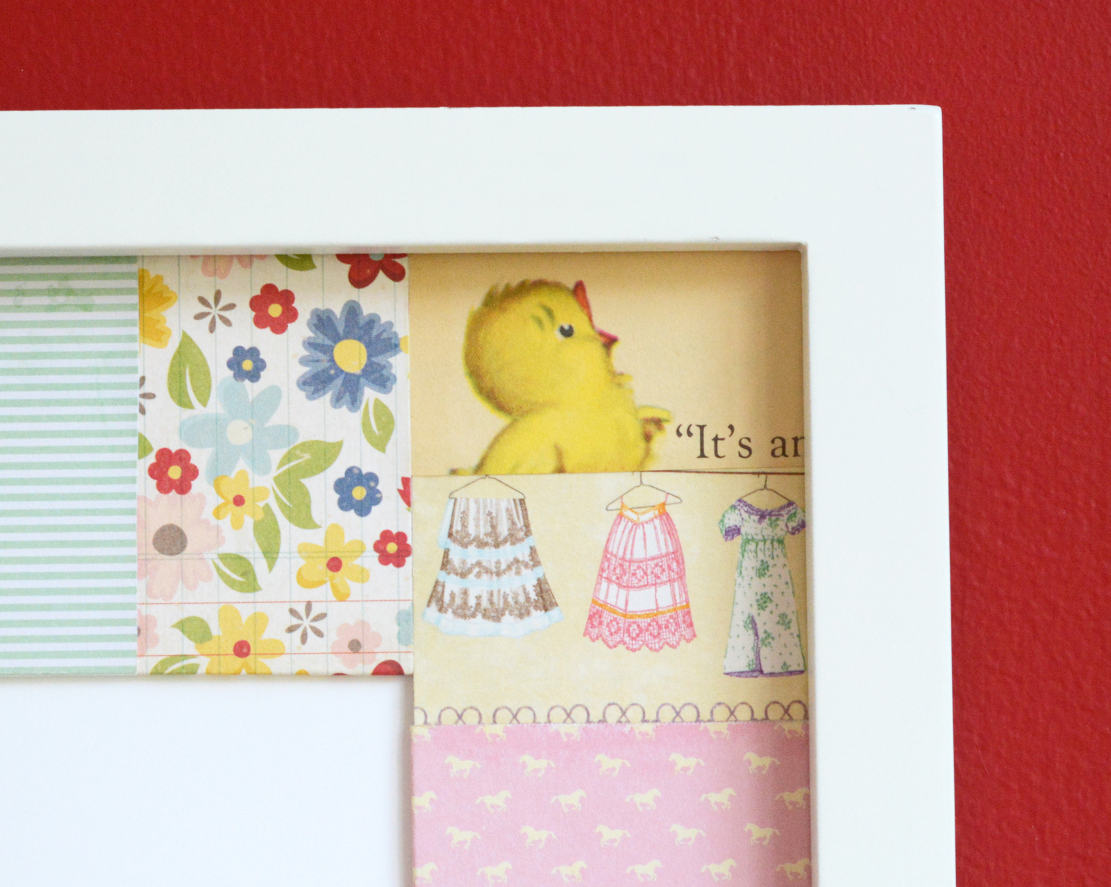Patchwork mat framed wall decor - Mod Podge Rocks