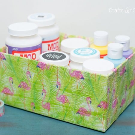 Use napkins from the dollar store along with decoupage medium in this unique box makeover project. It's so inexpensive and easy to do!