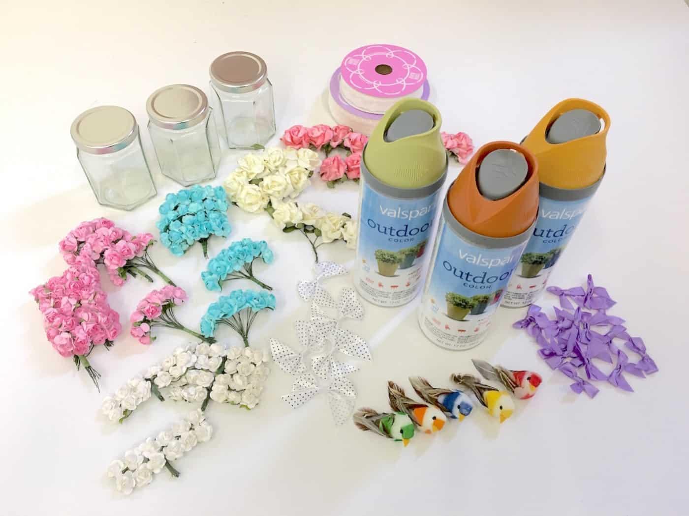 Supplies to make wedding mason jars
