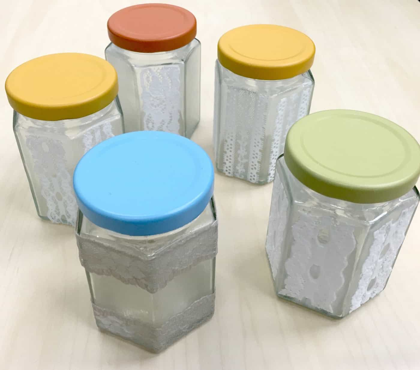 Lace mason jars with spray painted lids