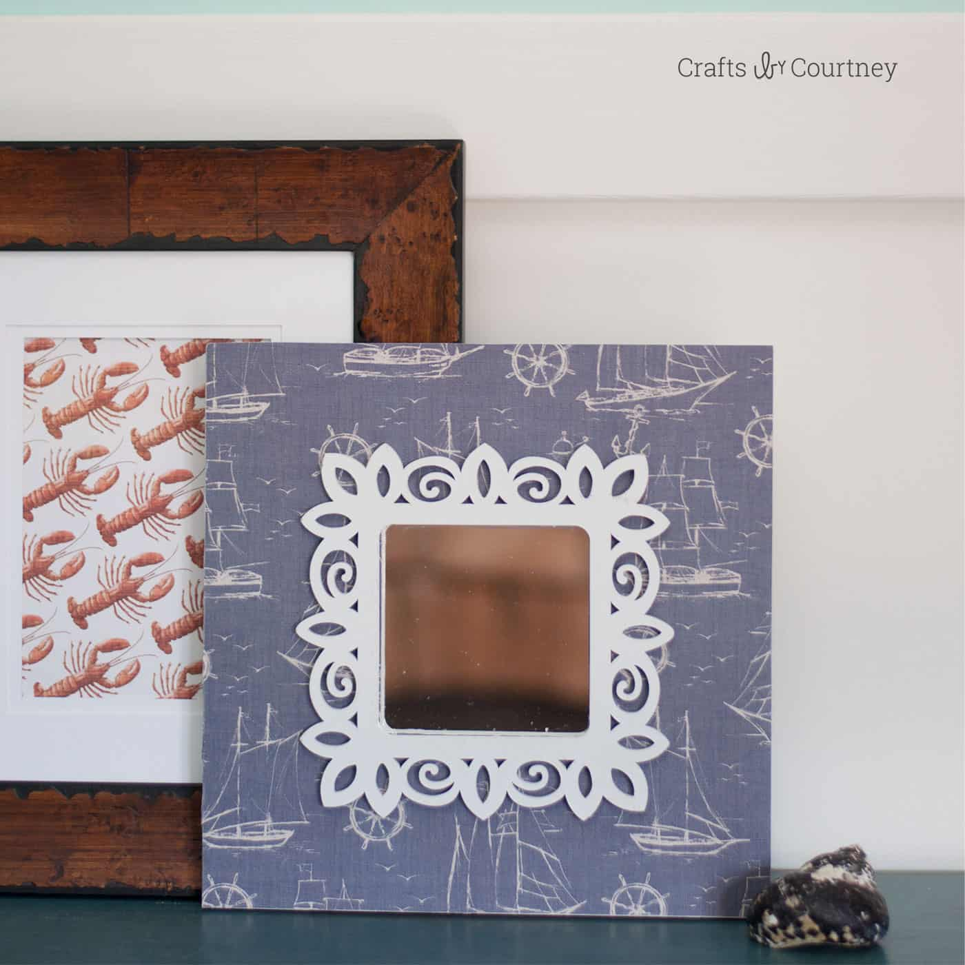 Makeover an IKEA wall mirror with scrapbook paper