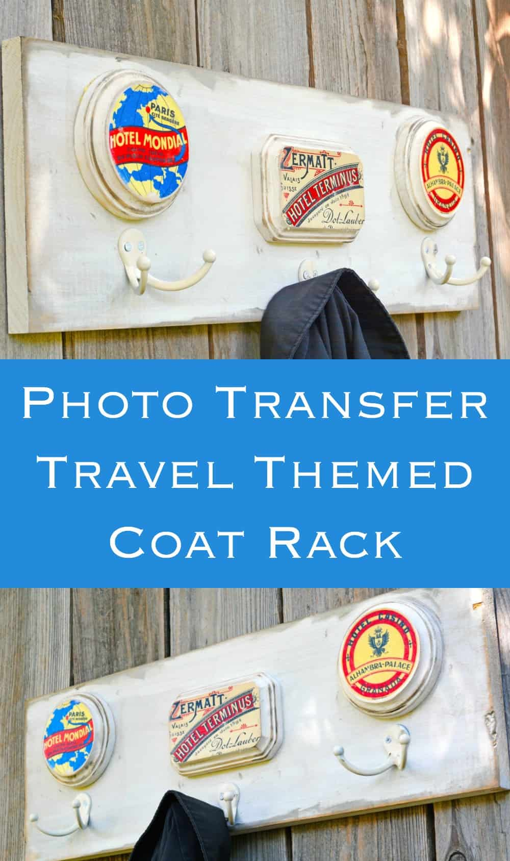 Vintage Coat Rack with a Travel Theme