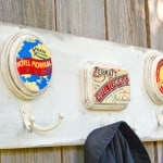 Vintage travel themed wooden coat rack