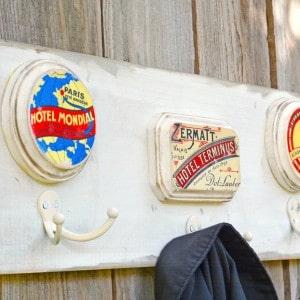 Vintage travel themed wooden coat rack