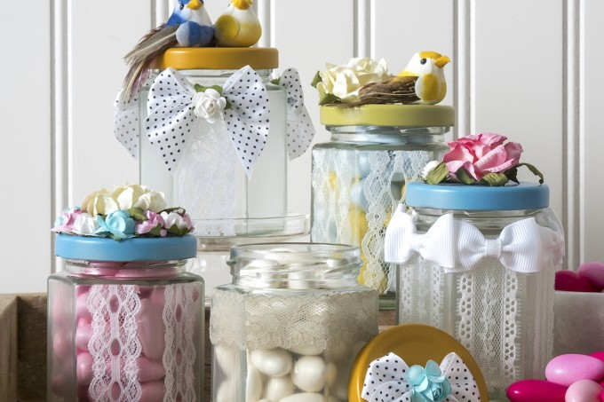 Pretty spring crafts always use lots of lace! Add lace to jars with Mod Podge for perfect party or wedding favors, or just for attractive home decor.