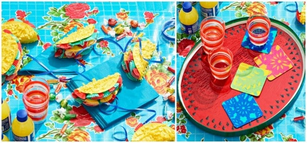 Learn to make two delightful Cinco de Mayo crafts - papel picado coasters and a mini piñata taco garland. Such a fun way to celebrate the holiday!