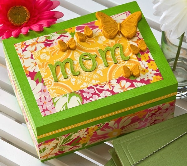Mothers day craft butterfly DIY jewelry box Mod Podge Rocks