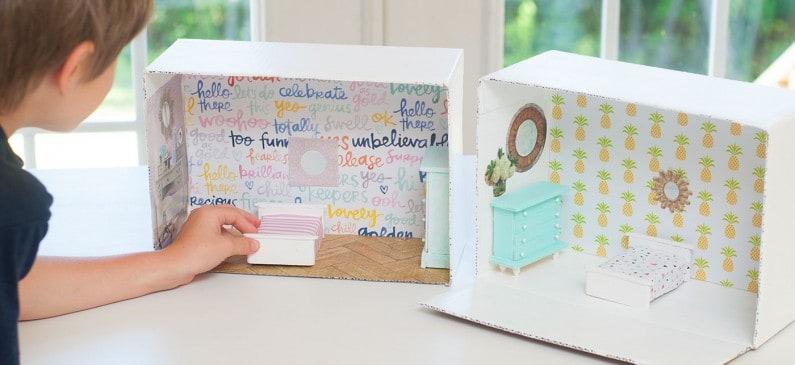 DIY dollhouse from a cardboard box