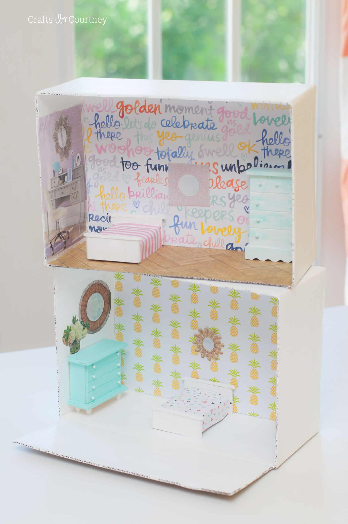 Doll House Craft From A Cardboard Box Mod Podge Rocks