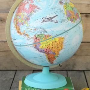 Decoupaged chalky vintage globe