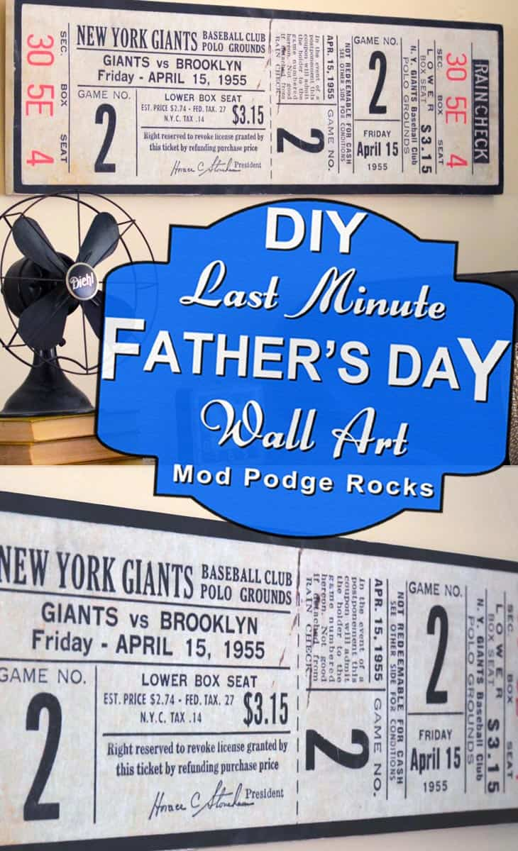This Father's Day wall decor idea is perfect for the dad who loves baseball! Adapt this idea for your own dad, using any ticket of your choice.