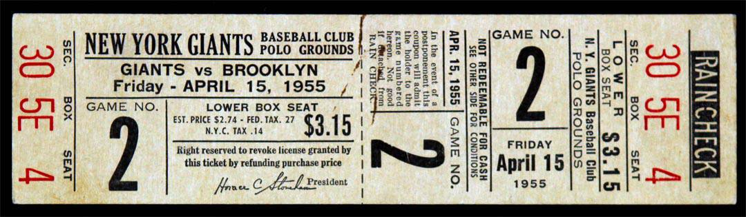 Vintage Baseball Ticket