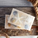 Make this pretty beach themed oatmeal soap with a surprise inside! It's the perfect decor for a beachy bathroom/powder room, or a coastal inspired escape.