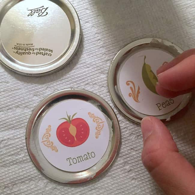 Apply labels to the tops of the lids and smooth