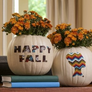 Use a Funkin faux pumpkin to make a pretty fall vase! This project is so easy, and you can use it year after year. Customize with your favorite fabric!
