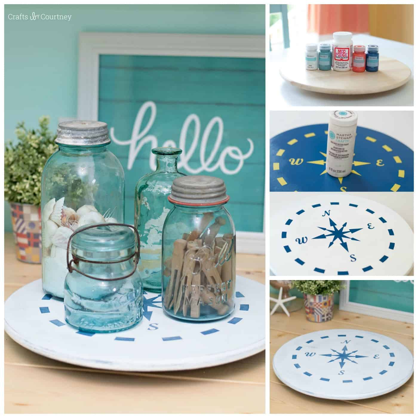 Nautical Ikea Lazy Susan Makeover with Chalk Finish Mod Podge