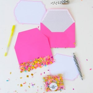Confetti dipped DIY envelopes