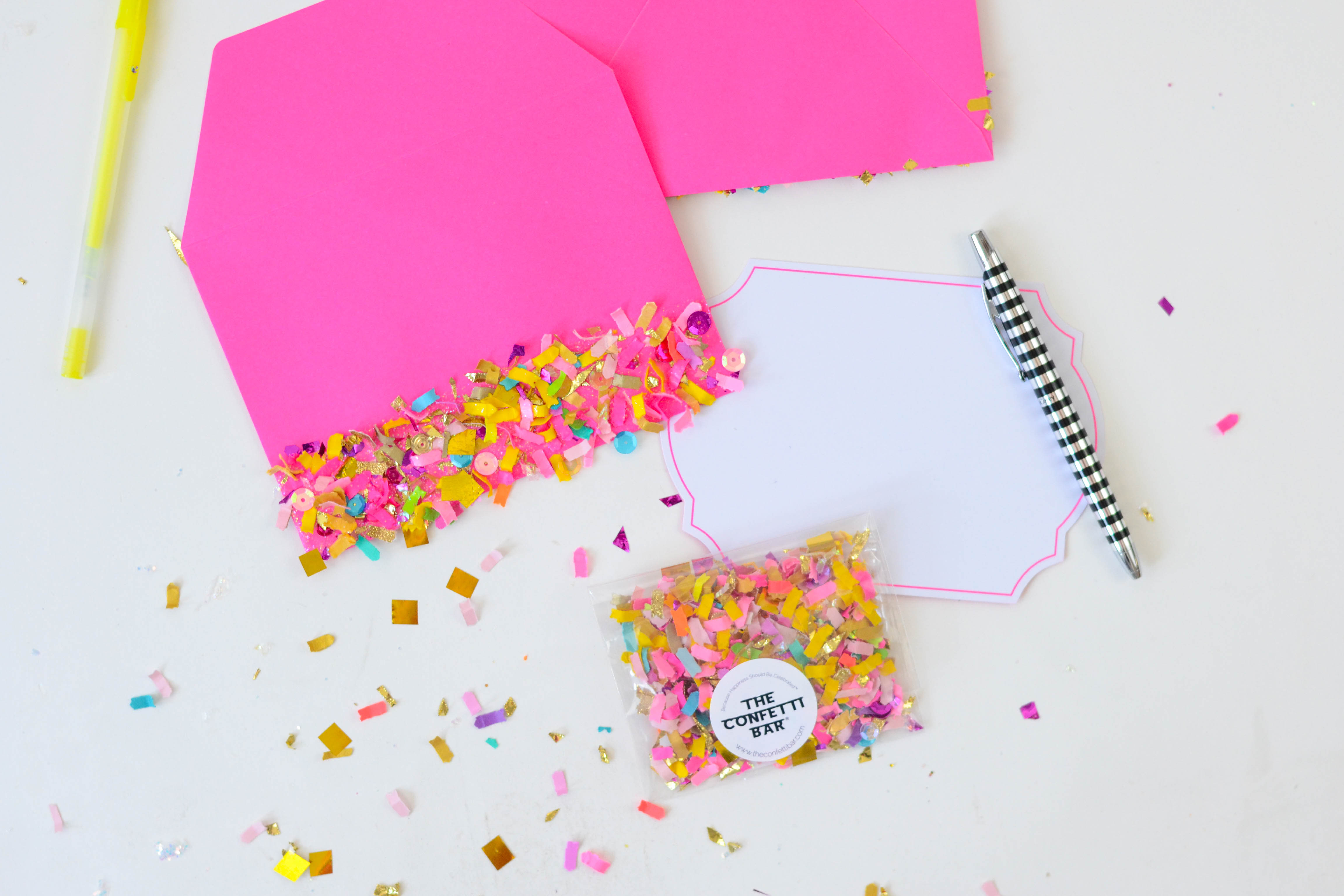 These confetti dipped DIY envelopes are extremely easy to make, and add that little extra something to make a note feel even more special.