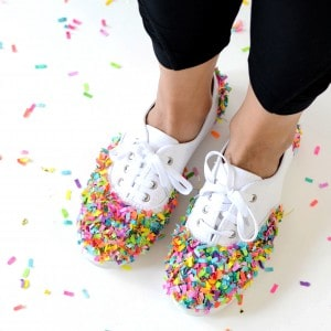 These DIY confetti dipped shoes are so fun! They are perfect for back to school, game days, or any other time you are feeling saucy or want to celebrate!