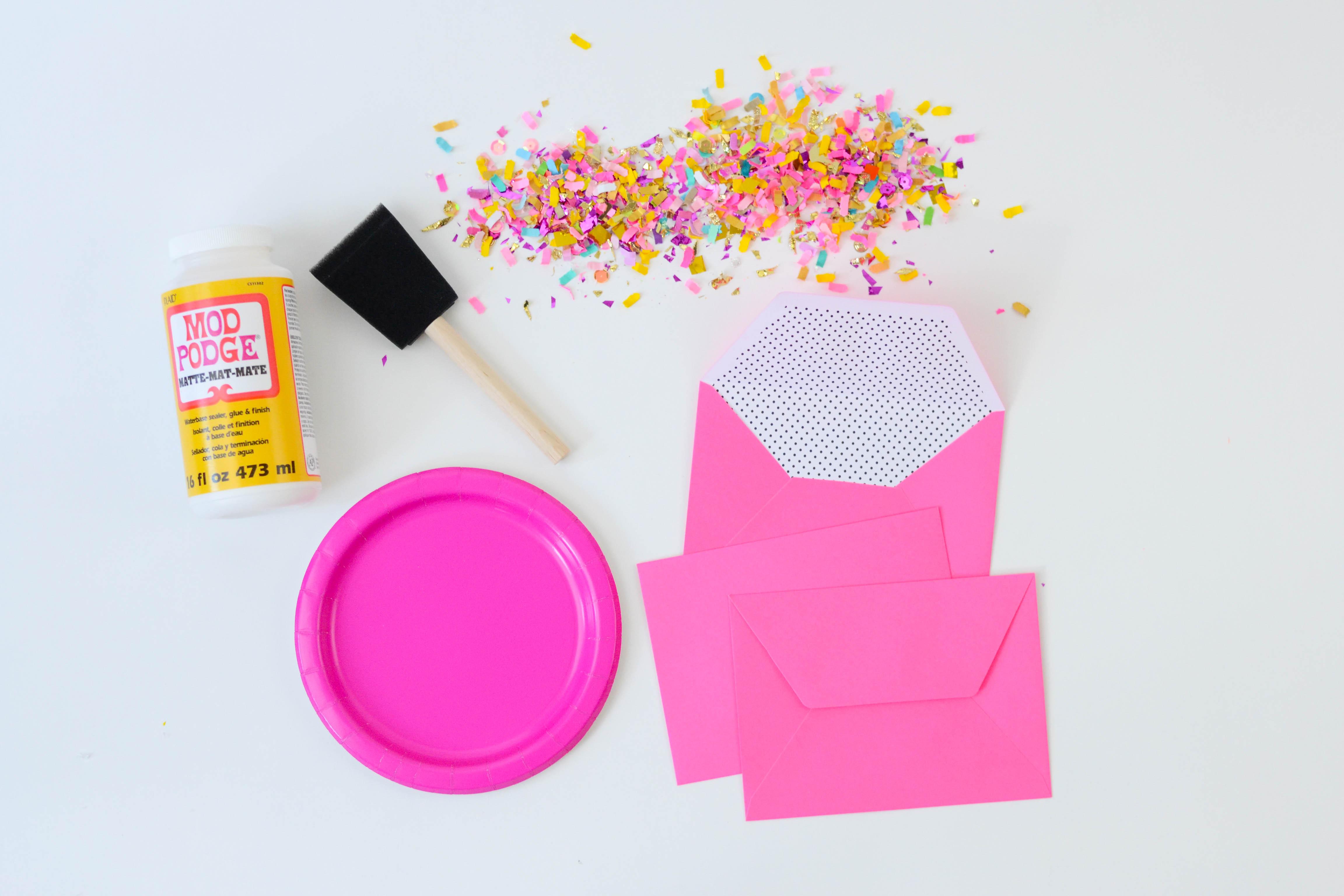 DIY Confetti Dipped Envelopes