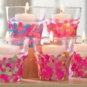 Make confetti candle holders