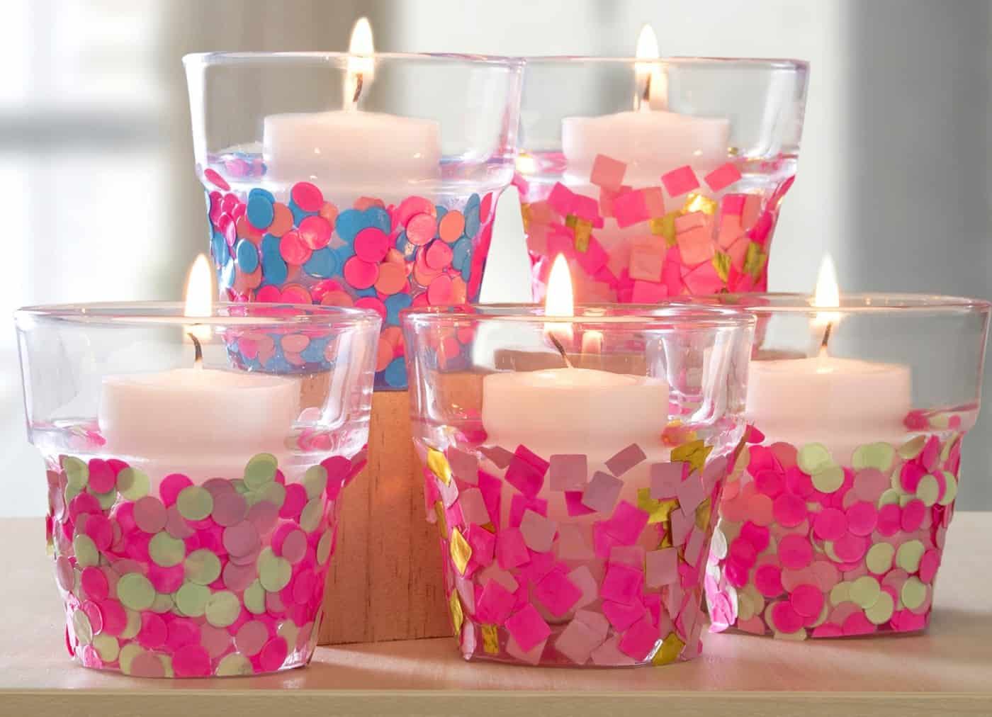 Make Confetti Candle Holders On The Cheap Mod Podge Rocks
