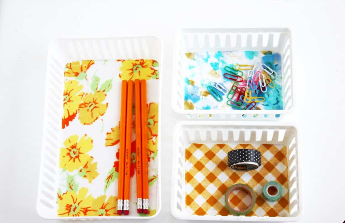 Make fabric covered organizer bins