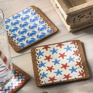 Decoupage nautical drink coasters