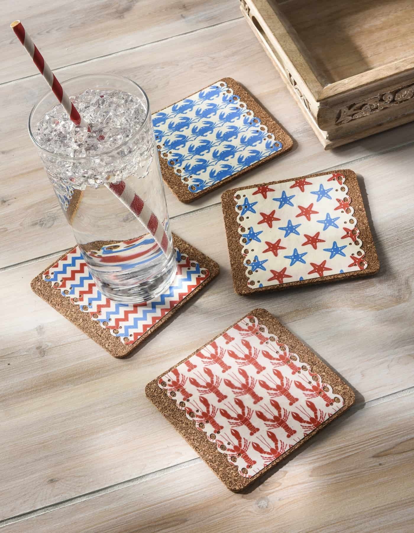 Beach House Home Decor Decoupage Nautical Drink Coasters Mod Podge Rocks