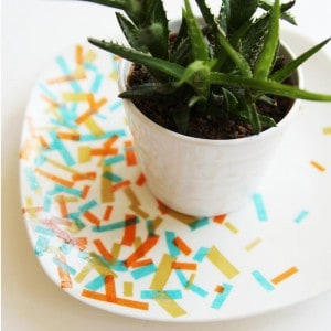 Dollar store craft: confetti plates