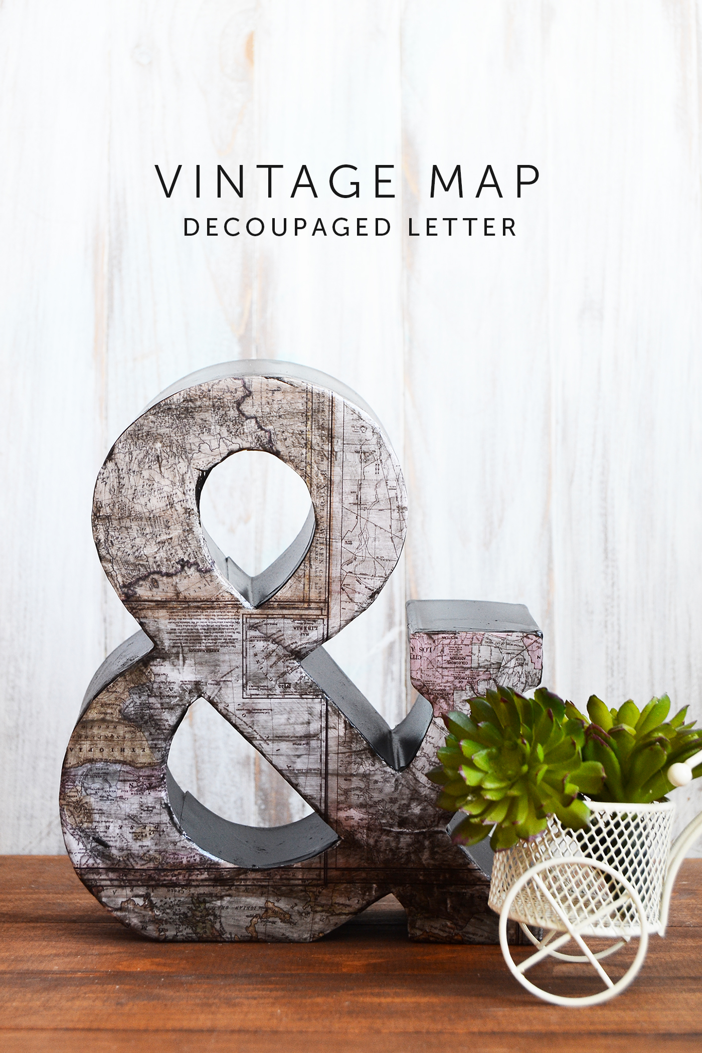 Use Mod Podge, paint, and map scrapbook paper to make this unique decoupage letter for home decor. It's easy to create your own with a fun vintage effect!