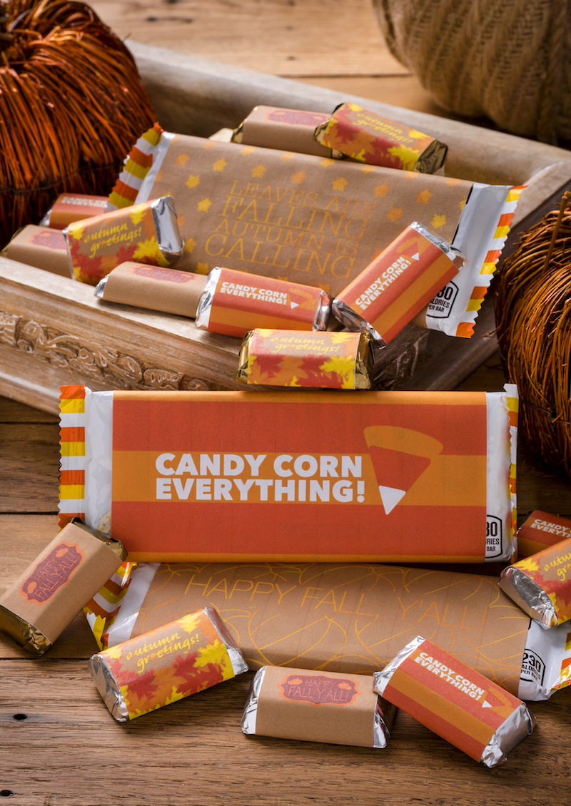 Grab these free fall printables for your sweet holiday treats! Get six different designs for both full and bite sized candy bars.