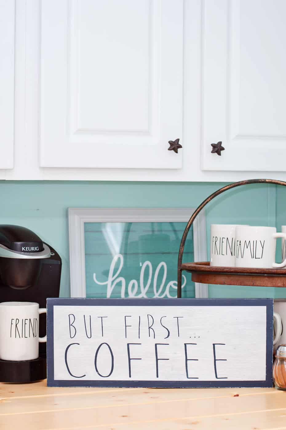 Make a DIY coffee bar sign with paint and Mod Podge