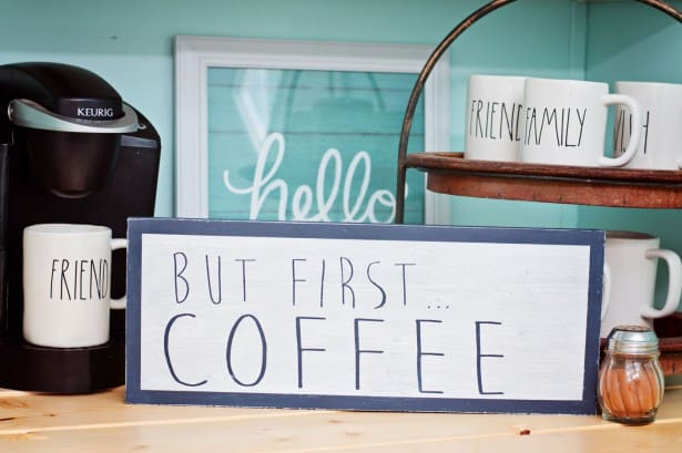Make a DIY coffee bar sign out of scrap wood