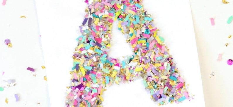 Confetti crafts: monogram letter art
