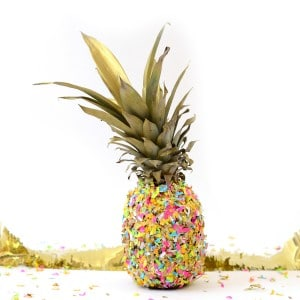 Confetti pineapple DIY centerpiece