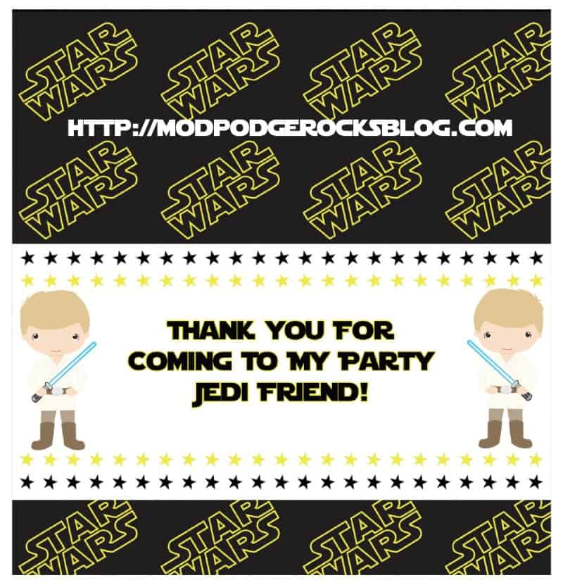 Get a FREE Star Wars birthday printable pack! This includes invitations, wrappers, banner, and more - twelve pages of fun. May the party be with you!
