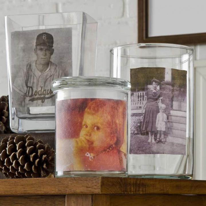 Vintage Mod Podge Photo Transfer to Glass Vases