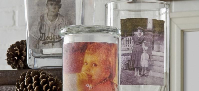 Vintage Mod Podge photo transfer to vases