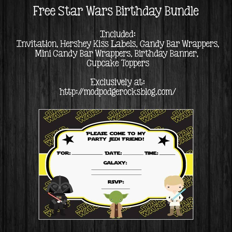 Star Wars Birthday Party FREE Printable Pack Mod Podge Rocks - Star wars birthday invitation diy