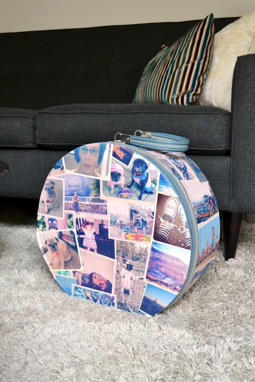 Vintage photo diy suitcase mod podge rocks for Diy using mod podge