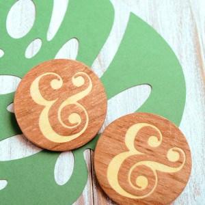 Ampersand wood inlay DIY pins
