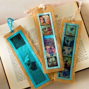 Simple burlap DIY bookmarks with photos