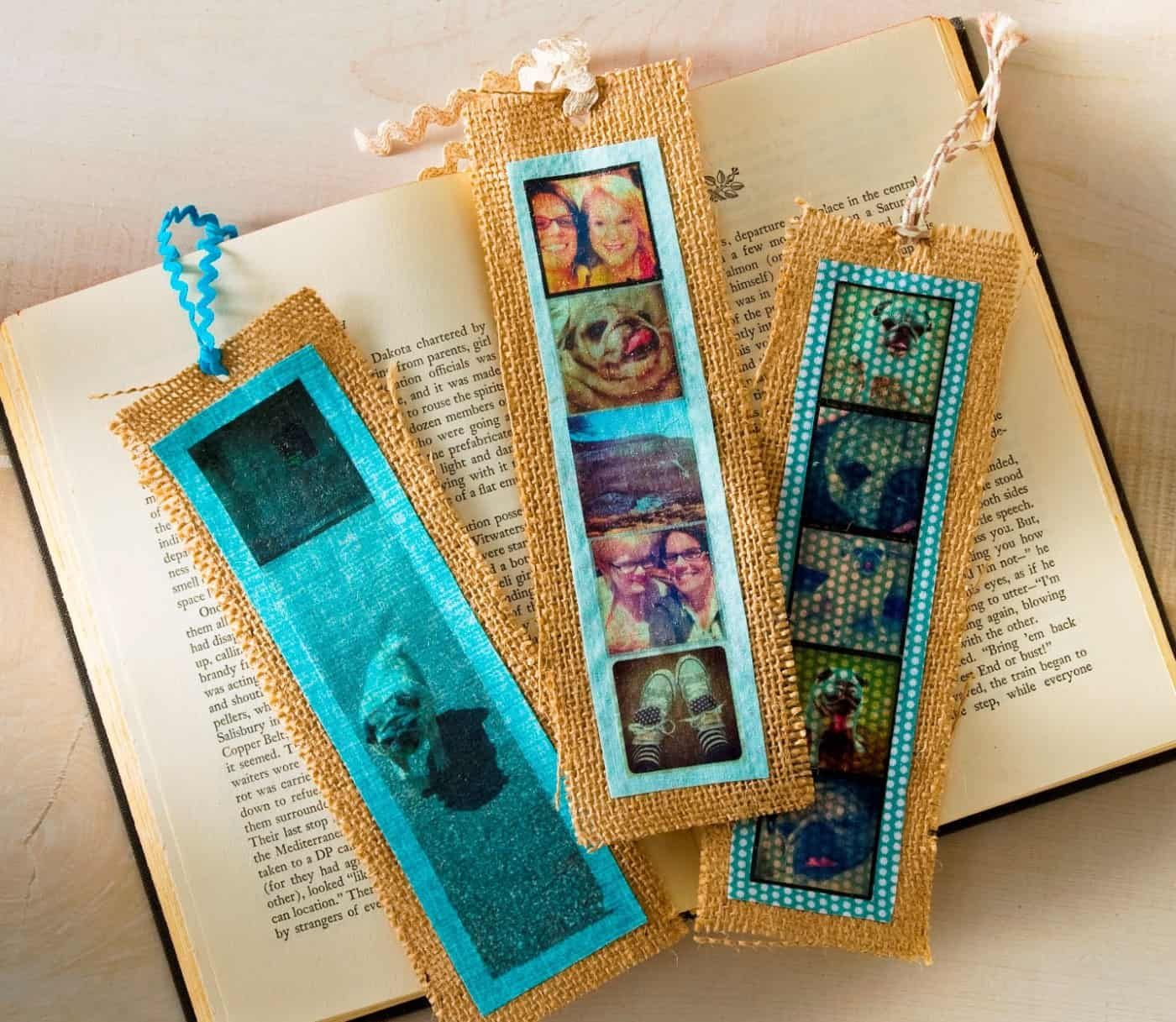 simple burlap diy bookmarks with photos   mod podge rocks