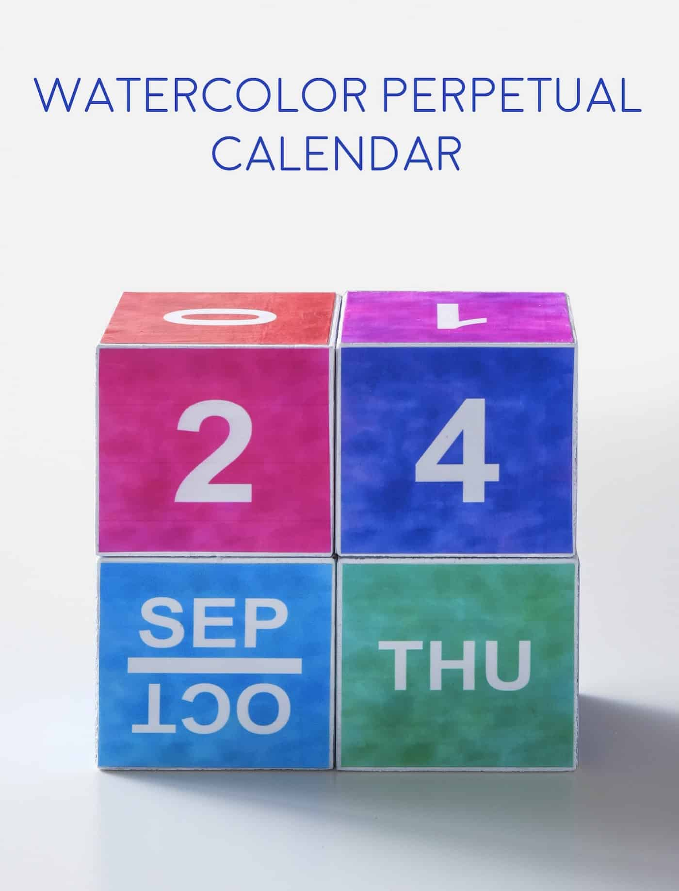Create a watercolor themed perpetual calendar using this free printable! Its easy to make with Mod Podge and a few other basic supplies.