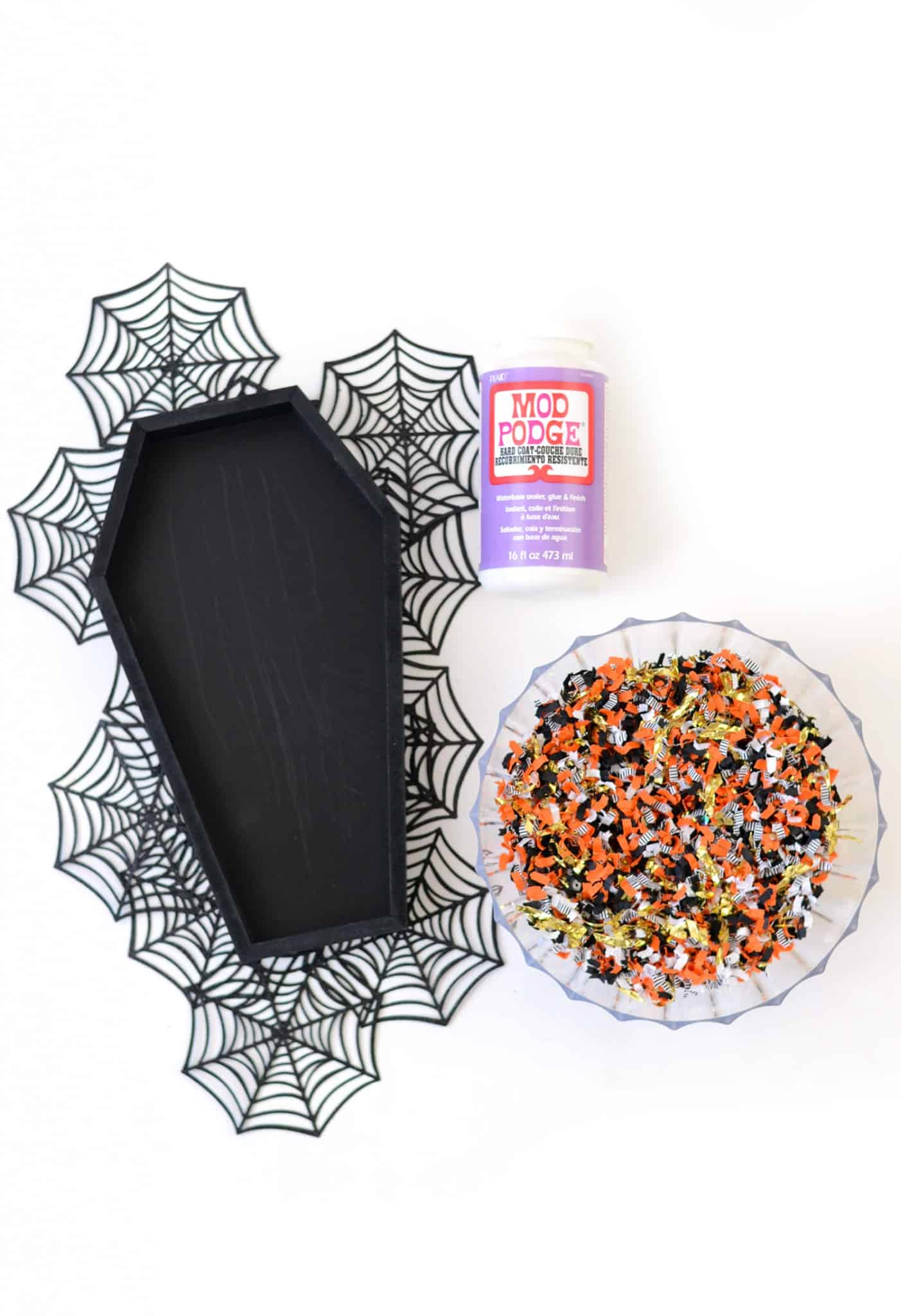 DIY Confetti Coffin Tray