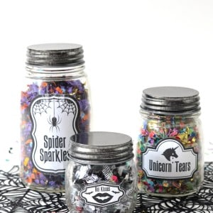 Glow in the dark Halloween confetti jars...