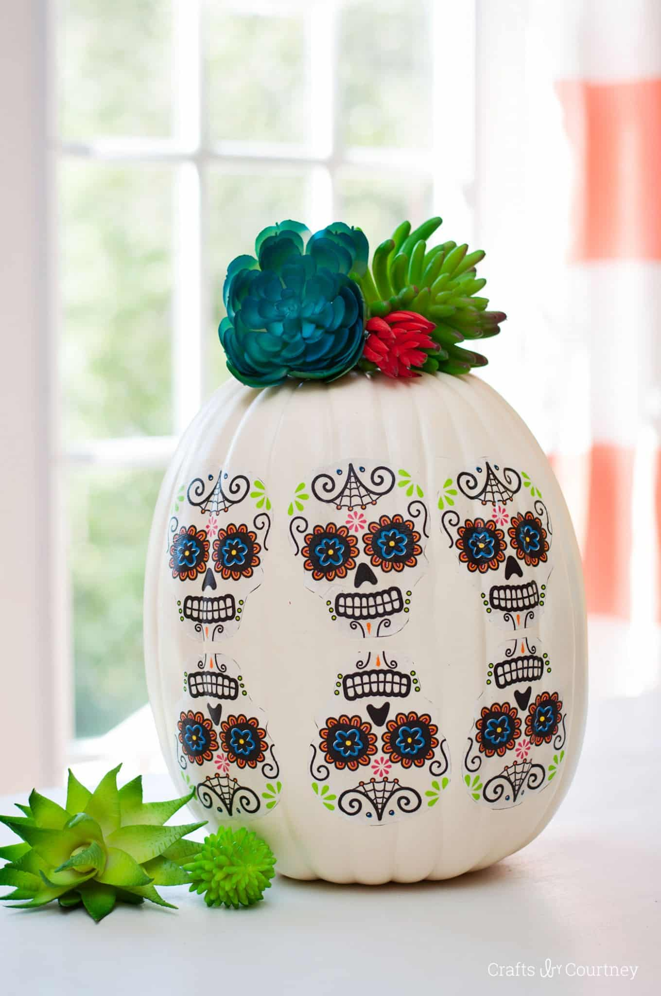 Are you ready for a cool Day of the Dead pumpkin craft you can make in minutes? You can customize this project with any napkins you like.